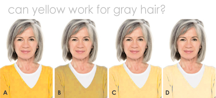 Does yellow look good with gray hair?